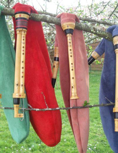 trois cornemuses et une musette des landes de Gascogne de l'atelier Neofactlandes
